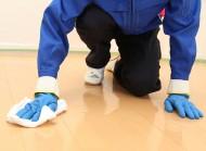水拭き後、床面を乾燥